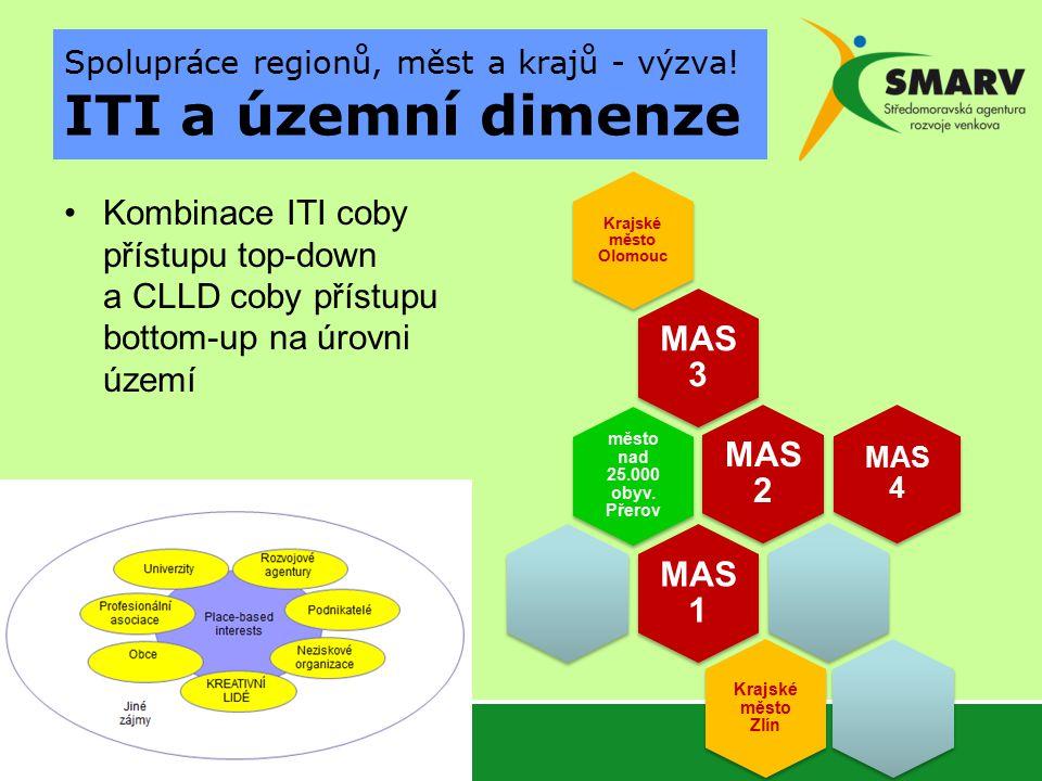 Kombinace ITI coby přístupu top-down a CLLD coby přístupu bottom-up na úrovni území Spolupráce regionů, měst a krajů - výzva.