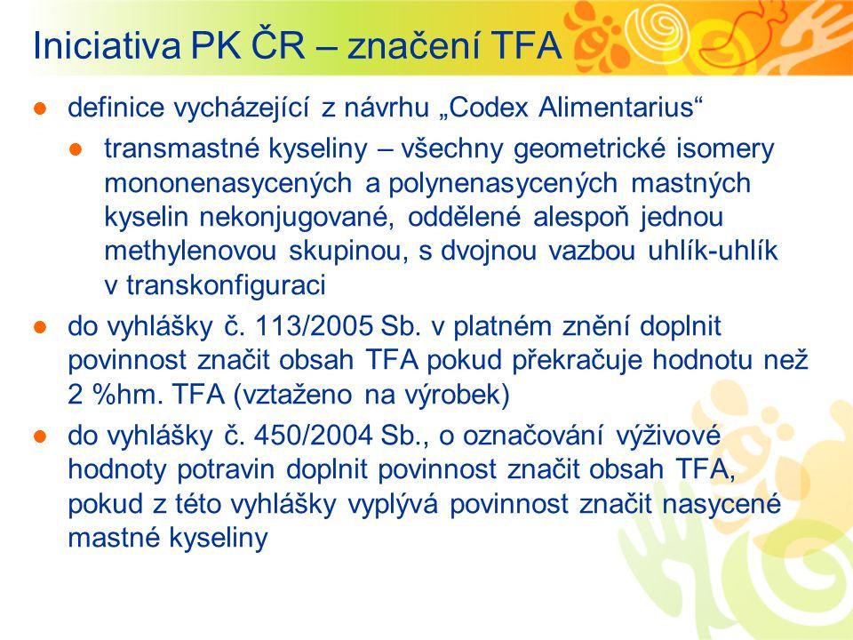 """Iniciativa PK ČR – značení TFA definice vycházející z návrhu """"Codex Alimentarius"""" transmastné kyseliny – všechny geometrické isomery mononenasycených"""