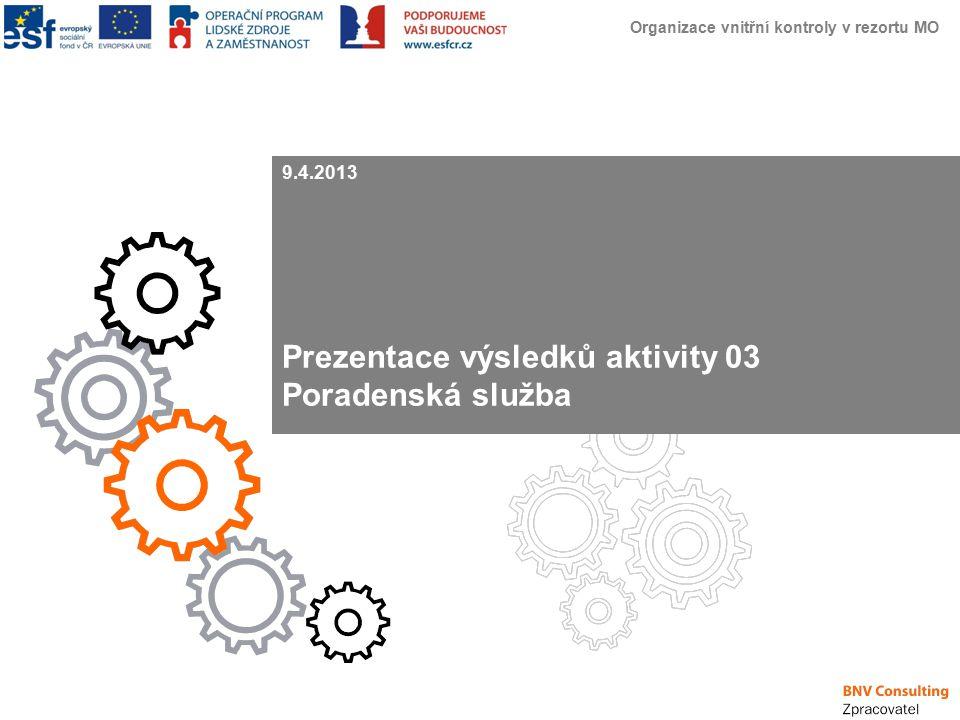 Organizace vnitřní kontroly v rezortu MO Úvod Představení BNV Consulting Profil společnosti BNV Consulting: V současné době zaměstnává v České republice 40 stálých pracovníků a 30 externistů; Pomáhá managementu a vlastníkům organizací zvýšit hodnotu společnosti, specializuje se na projekty zaměřené na snižování nákladů a optimalizací procesů až na úroveň celkové restrukturalizace; Dále se zabývá projekty v oblasti řízení lidských zdrojů (zvyšování motivace zaměstnanců, tvorba kompetenčních modelů, koučink, modely pro hodnocení zaměstnanců atd.); Projekty jsou realizovány ve firmách i institucích veřejné správy.
