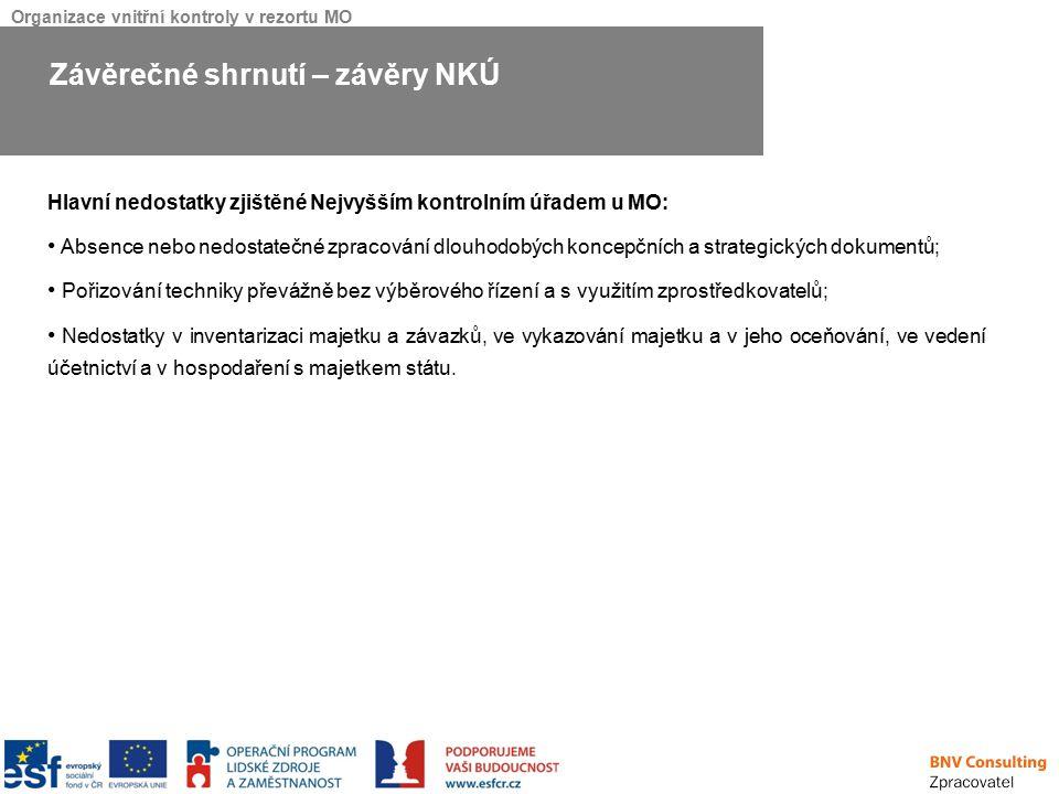 Organizace vnitřní kontroly v rezortu MO Hlavní nedostatky zjištěné Nejvyšším kontrolním úřadem u MO: Absence nebo nedostatečné zpracování dlouhodobýc
