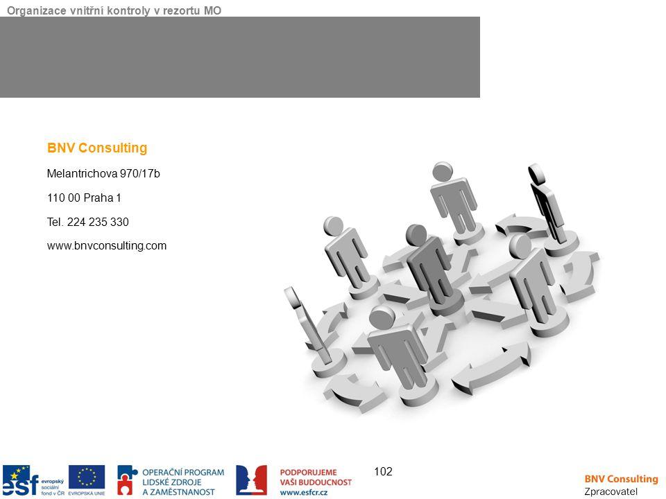 Organizace vnitřní kontroly v rezortu MO 102 BNV Consulting Melantrichova 970/17b 110 00 Praha 1 Tel.