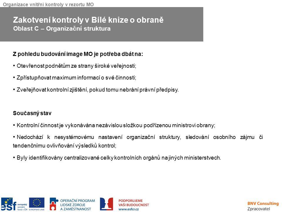 Organizace vnitřní kontroly v rezortu MO Z pohledu budování image MO je potřeba dbát na: Otevřenost podnětům ze strany široké veřejnosti; Zpřístupňova