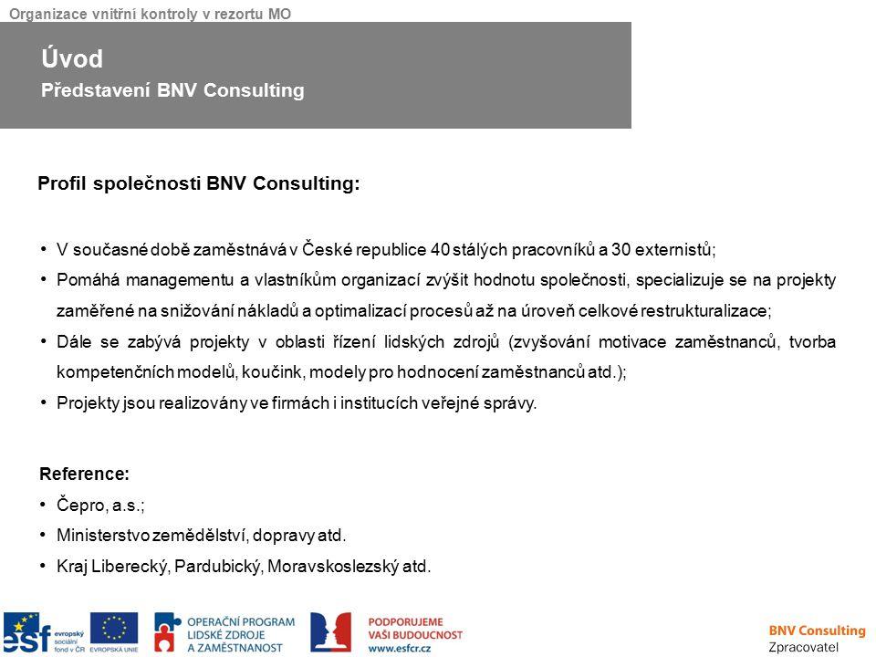 Organizace vnitřní kontroly v rezortu MO Byly identifikovány oblasti kontroly (např.