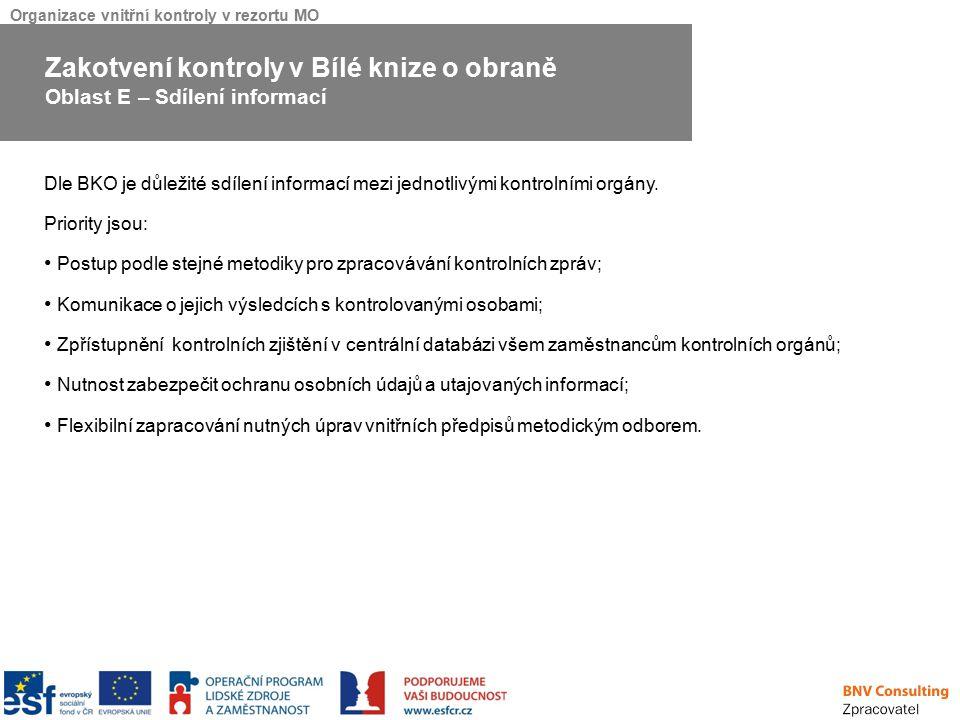 Organizace vnitřní kontroly v rezortu MO Dle BKO je důležité sdílení informací mezi jednotlivými kontrolními orgány. Priority jsou: Postup podle stejn