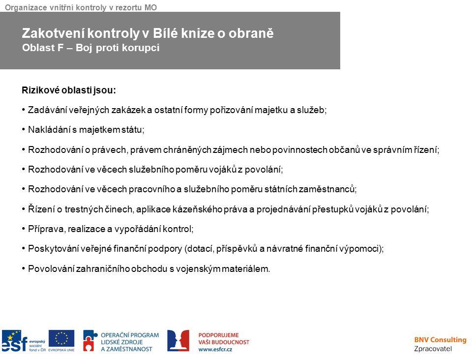 Organizace vnitřní kontroly v rezortu MO Rizikové oblasti jsou: Zadávání veřejných zakázek a ostatní formy pořizování majetku a služeb; Nakládání s ma