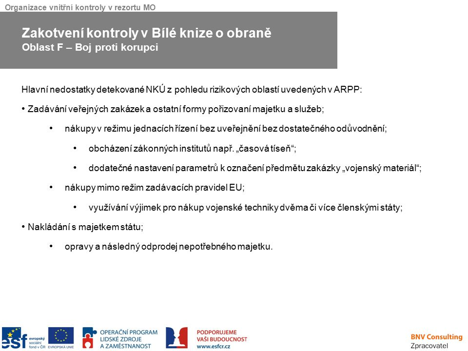 Organizace vnitřní kontroly v rezortu MO Hlavní nedostatky detekované NKÚ z pohledu rizikových oblastí uvedených v ARPP: Zadávání veřejných zakázek a