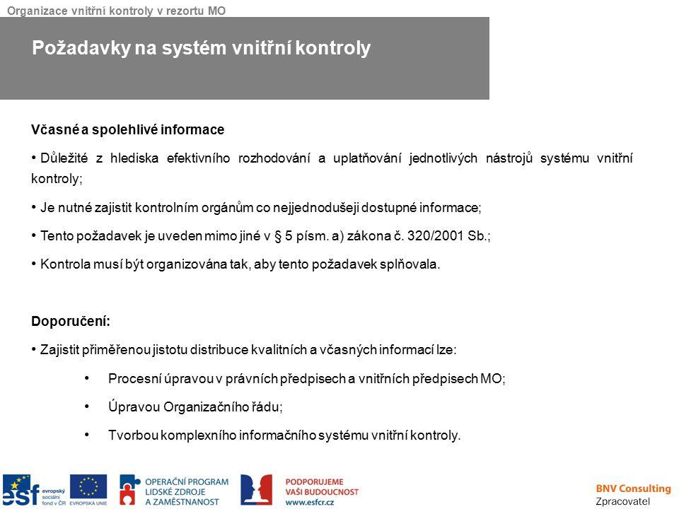 Organizace vnitřní kontroly v rezortu MO Včasné a spolehlivé informace Důležité z hlediska efektivního rozhodování a uplatňování jednotlivých nástrojů