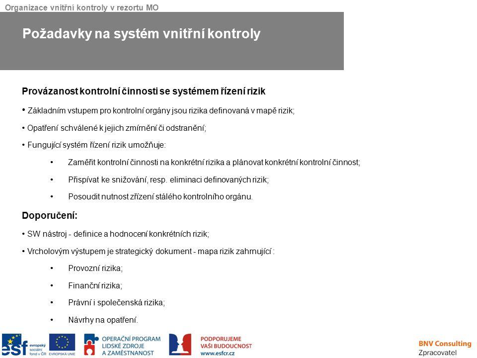 Organizace vnitřní kontroly v rezortu MO Provázanost kontrolní činnosti se systémem řízení rizik Základním vstupem pro kontrolní orgány jsou rizika de