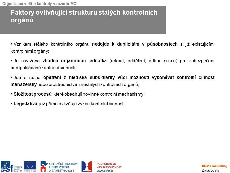 Organizace vnitřní kontroly v rezortu MO Vznikem stálého kontrolního orgánu nedojde k duplicitám v působnostech s již existujícími kontrolními orgány;