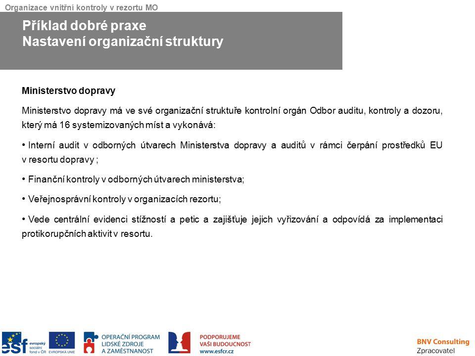 Organizace vnitřní kontroly v rezortu MO Ministerstvo dopravy Ministerstvo dopravy má ve své organizační struktuře kontrolní orgán Odbor auditu, kontr