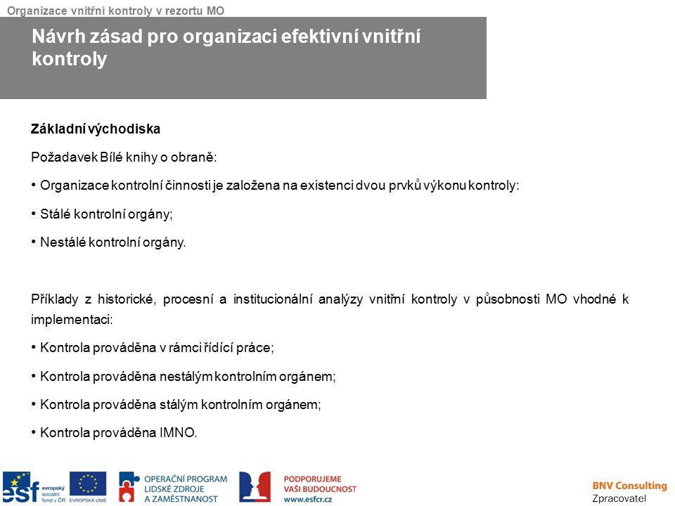 Organizace vnitřní kontroly v rezortu MO Základní východiska Požadavek Bílé knihy o obraně: Organizace kontrolní činnosti je založena na existenci dvo
