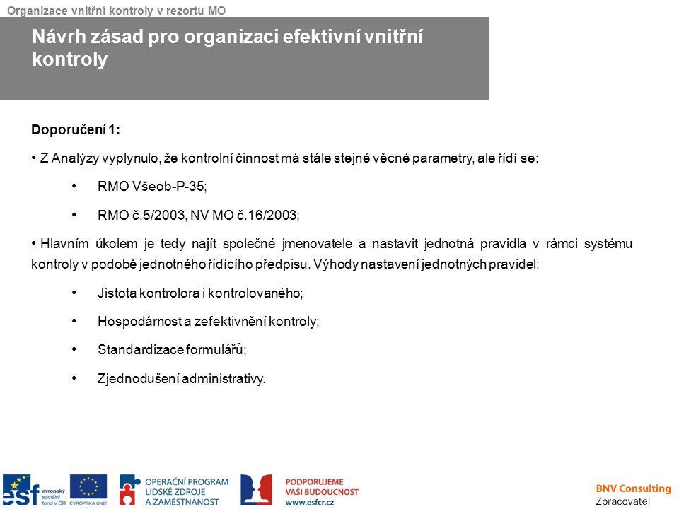 Organizace vnitřní kontroly v rezortu MO Doporučení 1: Z Analýzy vyplynulo, že kontrolní činnost má stále stejné věcné parametry, ale řídí se: RMO Vše
