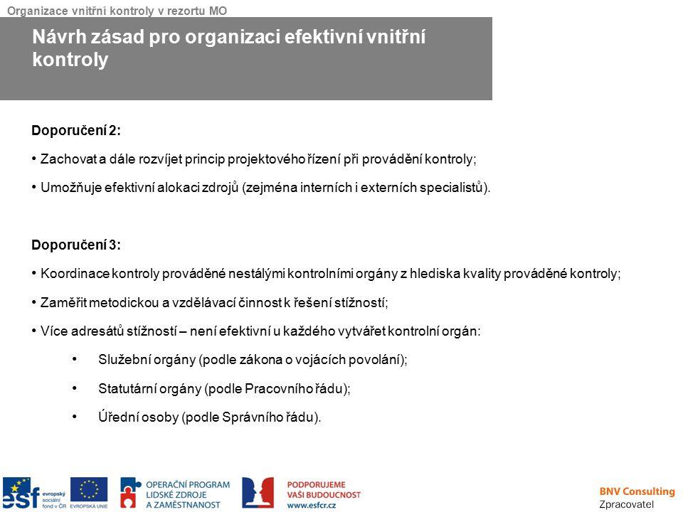 Organizace vnitřní kontroly v rezortu MO Doporučení 2: Zachovat a dále rozvíjet princip projektového řízení při provádění kontroly; Umožňuje efektivní