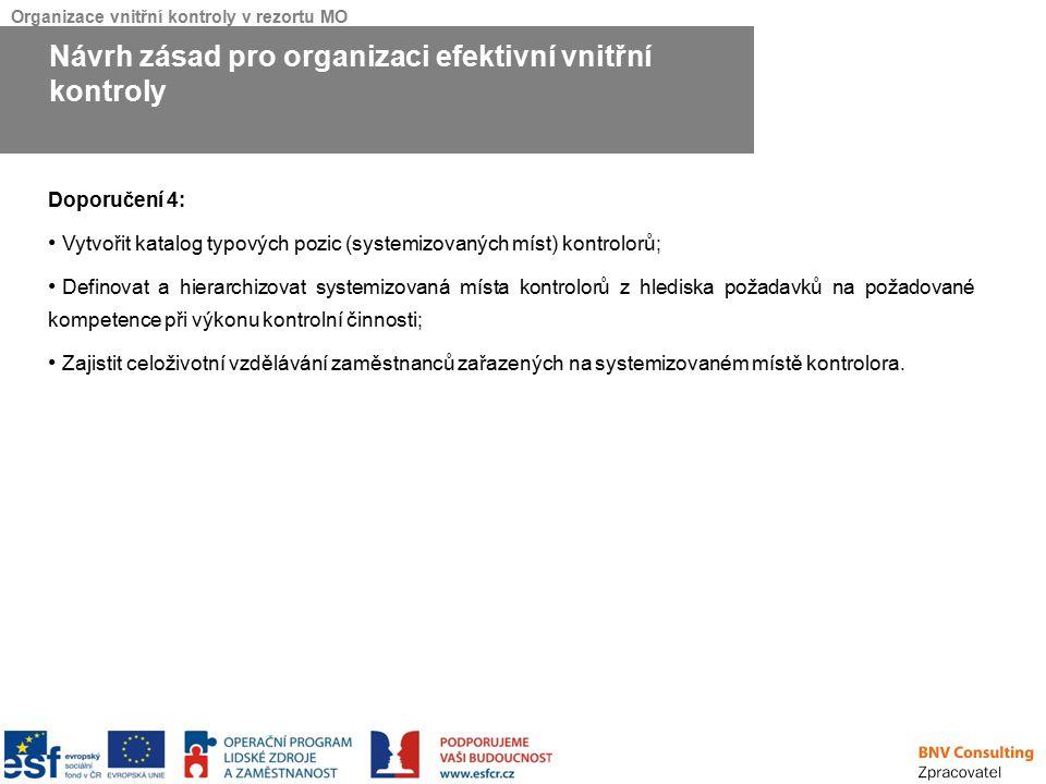 Organizace vnitřní kontroly v rezortu MO Doporučení 4: Vytvořit katalog typových pozic (systemizovaných míst) kontrolorů; Definovat a hierarchizovat s