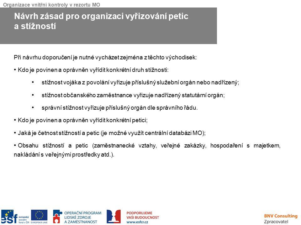 Organizace vnitřní kontroly v rezortu MO Při návrhu doporučení je nutné vycházet zejména z těchto východisek: Kdo je povinen a oprávněn vyřídit konkré