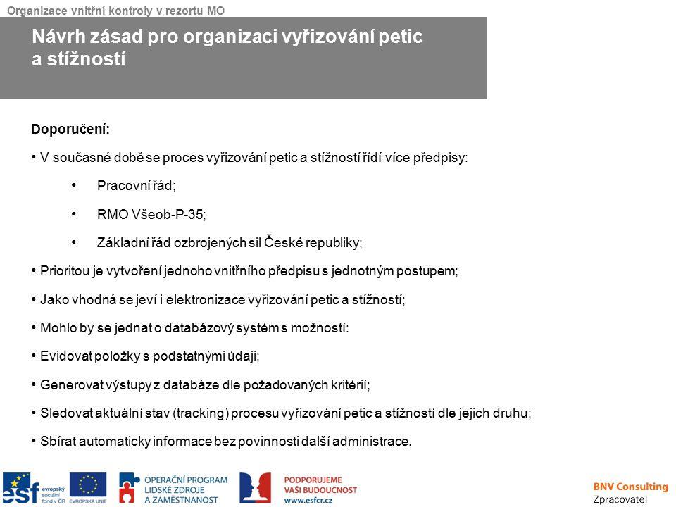 Organizace vnitřní kontroly v rezortu MO Doporučení: V současné době se proces vyřizování petic a stížností řídí více předpisy: Pracovní řád; RMO Všeo