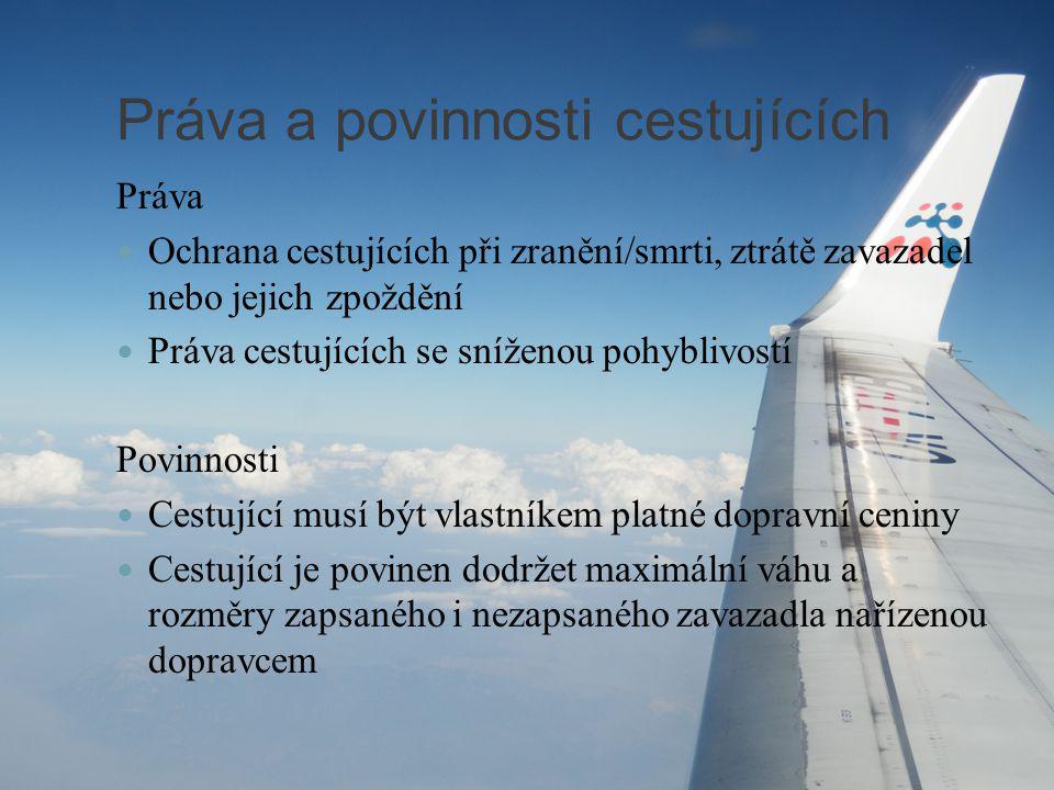 Práva a povinnosti cestujících Práva Ochrana cestujících při zranění/smrti, ztrátě zavazadel nebo jejich zpoždění Práva cestujících se sníženou pohybl