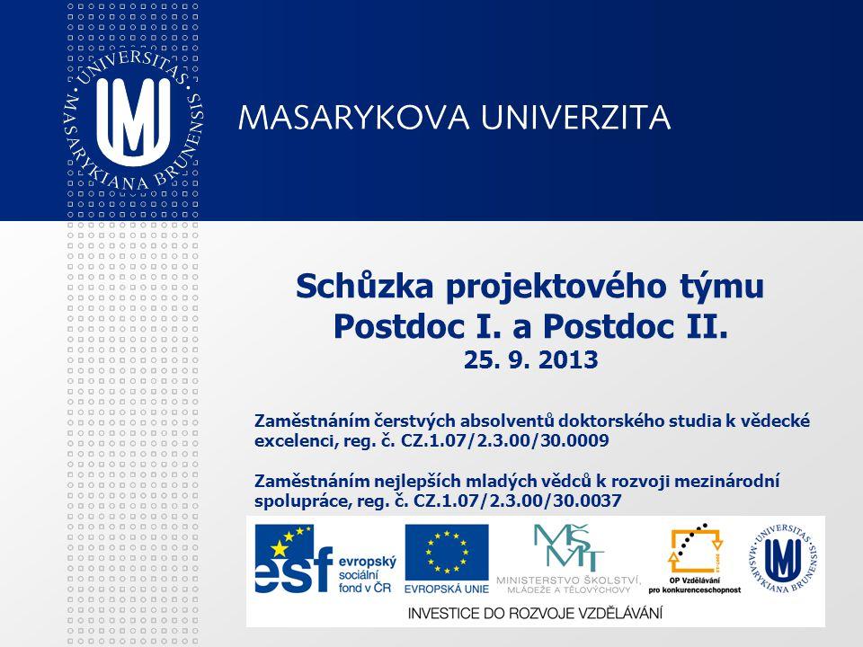 Schůzka projektového týmu Postdoc I. a Postdoc II. 25. 9. 2013 Zaměstnáním čerstvých absolventů doktorského studia k vědecké excelenci, reg. č. CZ.1.0