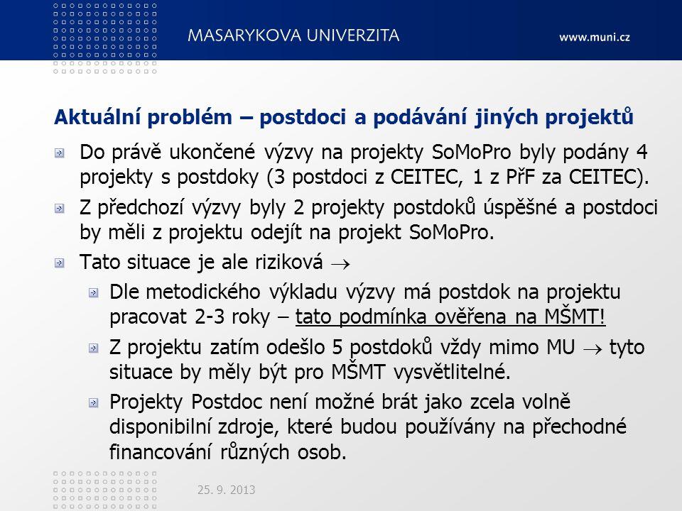Aktuální problém – postdoci a podávání jiných projektů Do právě ukončené výzvy na projekty SoMoPro byly podány 4 projekty s postdoky (3 postdoci z CEITEC, 1 z PřF za CEITEC).