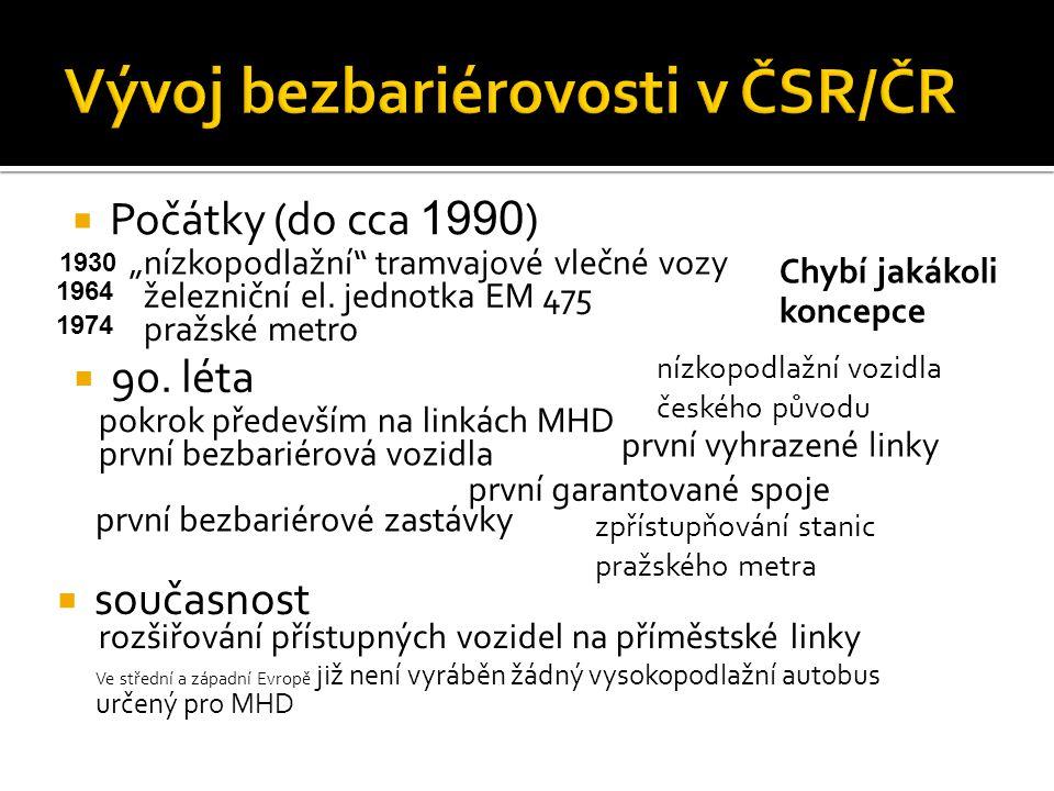 """ Počátky (do cca 1990 ) """"nízkopodlažní"""" tramvajové vlečné vozy železniční el. jednotka EM 475 pražské metro 1930 1964 1974 Chybí jakákoli koncepce """
