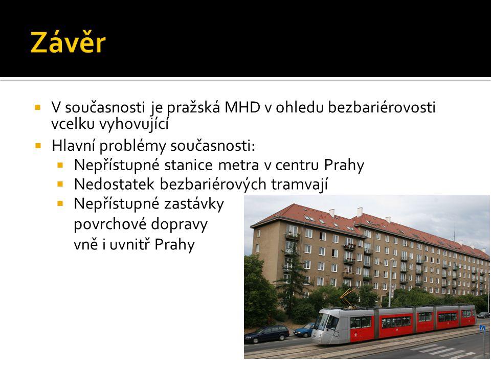  V současnosti je pražská MHD v ohledu bezbariérovosti vcelku vyhovující  Hlavní problémy současnosti:  Nepřístupné stanice metra v centru Prahy 