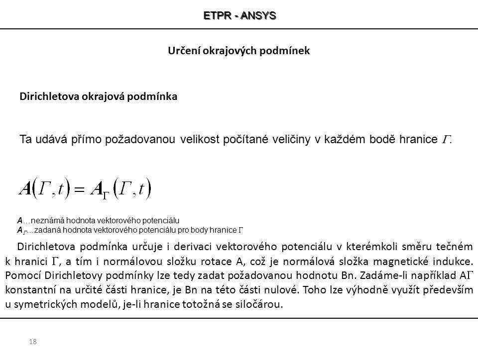ETPR - ANSYS 18 A…neznámá hodnota vektorového potenciálu A  …zadaná hodnota vektorového potenciálu pro body hranice  Dirichletova podmínka určuje i