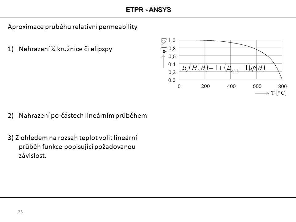 ETPR - ANSYS Aproximace průběhu relativní permeability 1)Nahrazení ¼ kružnice či elipspy 2)Nahrazení po-částech lineárním průběhem 3) Z ohledem na roz