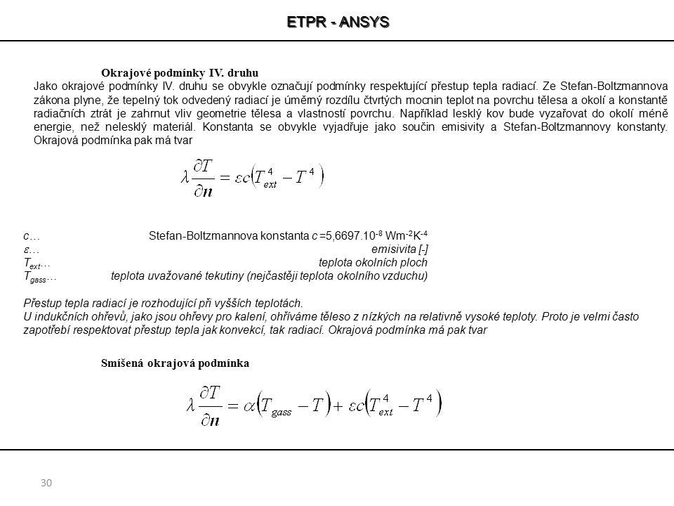 ETPR - ANSYS 30 Okrajové podmínky IV. druhu Jako okrajové podmínky IV. druhu se obvykle označují podmínky respektující přestup tepla radiací. Ze Stefa