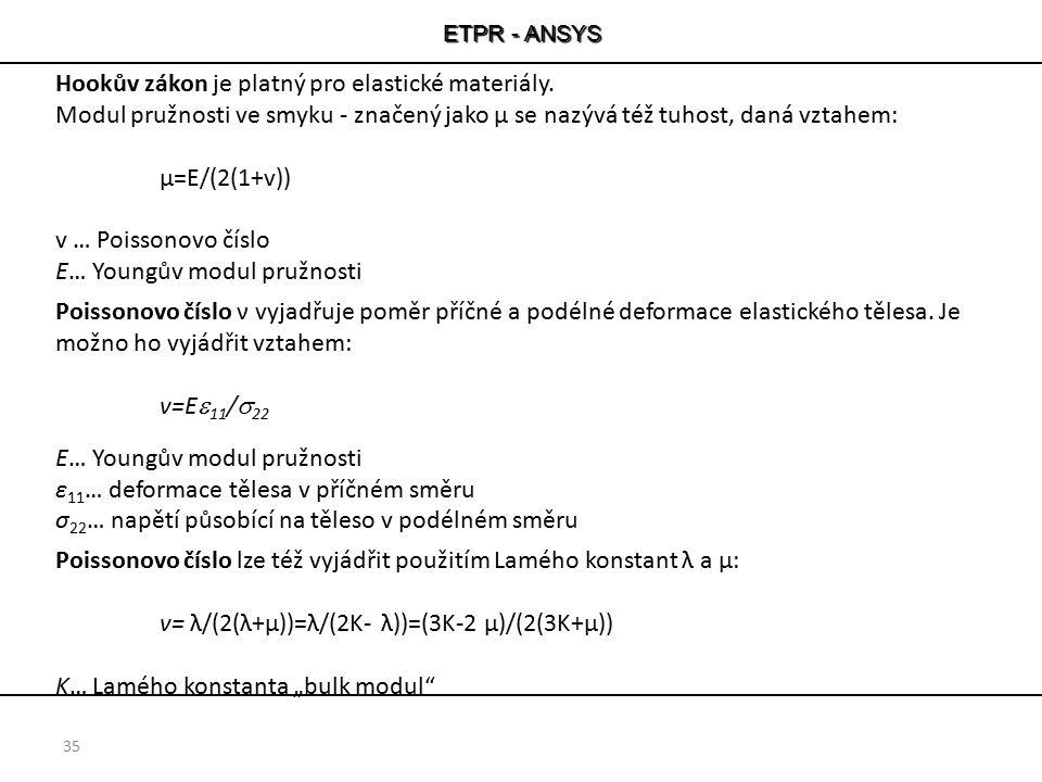 ETPR - ANSYS 35 Hookův zákon je platný pro elastické materiály. Modul pružnosti ve smyku - značený jako μ se nazývá též tuhost, daná vztahem: µ=E/(2(1