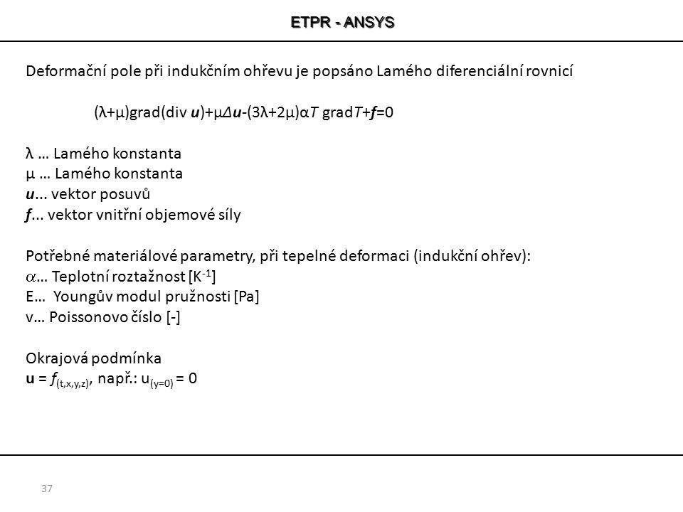 ETPR - ANSYS 37 Deformační pole při indukčním ohřevu je popsáno Lamého diferenciální rovnicí (λ+μ)grad(div u)+μΔu-(3λ+2μ)αT gradT+f=0 λ … Lamého konst