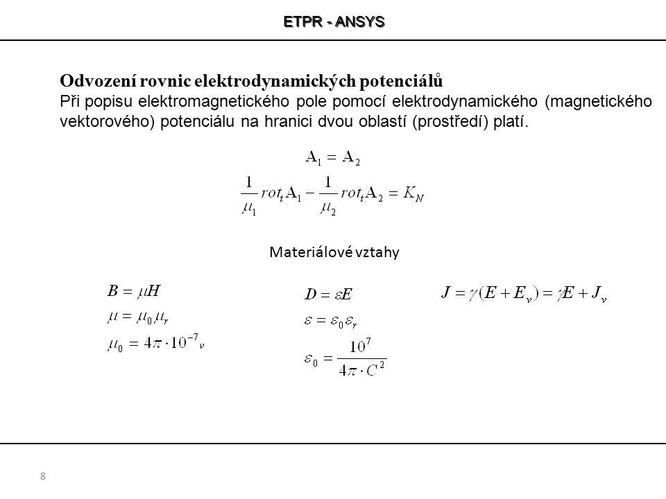 ETPR - ANSYS 8 Odvození rovnic elektrodynamických potenciálů Při popisu elektromagnetického pole pomocí elektrodynamického (magnetického vektorového)