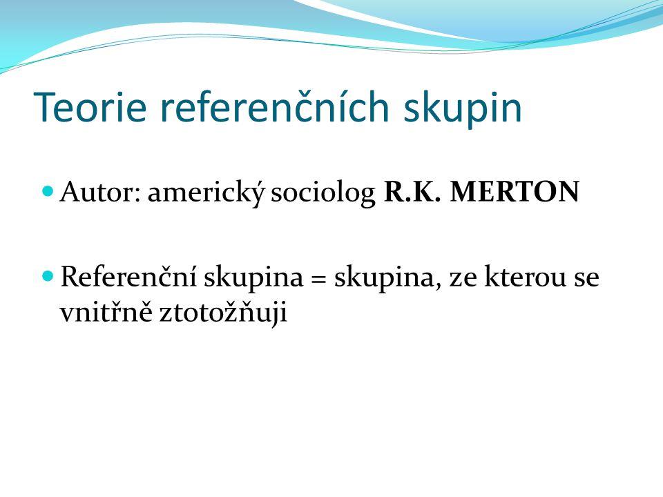 Teorie referenčních skupin Autor: americký sociolog R.K.