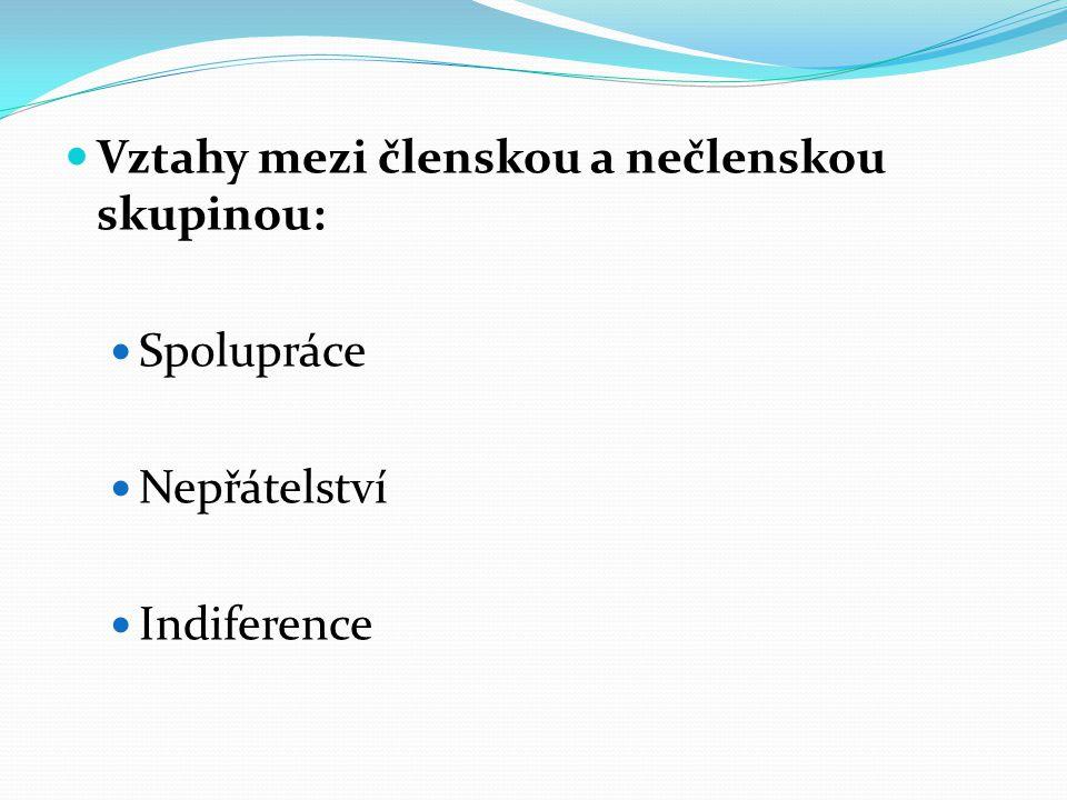 Vztahy mezi členskou a nečlenskou skupinou: Spolupráce Nepřátelství Indiference