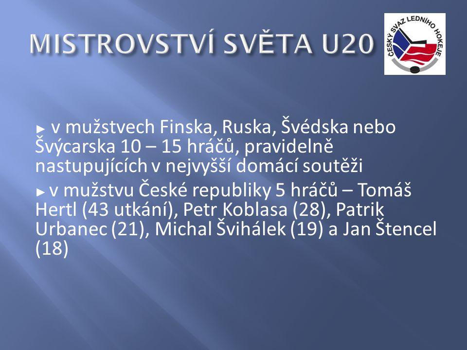 ► v mužstvech Finska, Ruska, Švédska nebo Švýcarska 10 – 15 hráčů, pravidelně nastupujících v nejvyšší domácí soutěži ► v mužstvu České republiky 5 hráčů – Tomáš Hertl (43 utkání), Petr Koblasa (28), Patrik Urbanec (21), Michal Švihálek (19) a Jan Štencel (18)