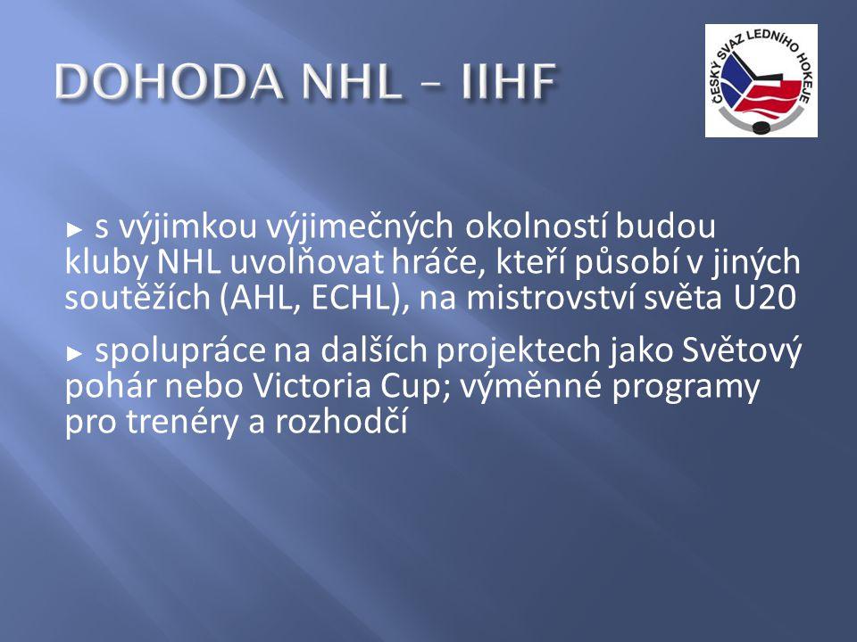 ► s výjimkou výjimečných okolností budou kluby NHL uvolňovat hráče, kteří působí v jiných soutěžích (AHL, ECHL), na mistrovství světa U20 ► spolupráce na dalších projektech jako Světový pohár nebo Victoria Cup; výměnné programy pro trenéry a rozhodčí
