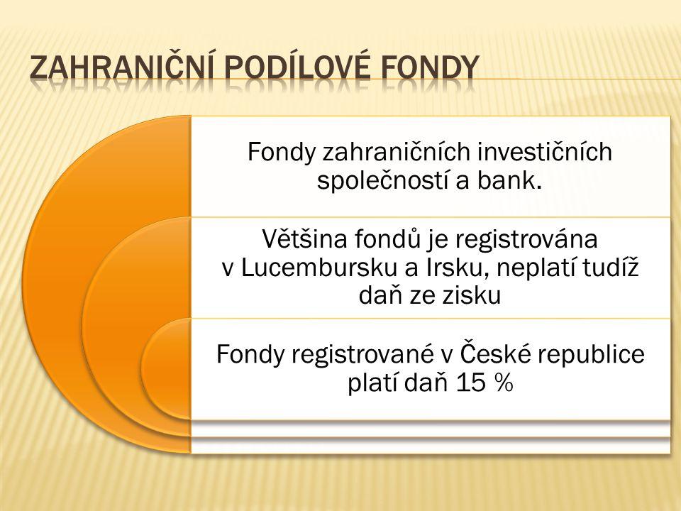 Fondy zahraničních investičních společností a bank. Většina fondů je registrována v Lucembursku a Irsku, neplatí tudíž daň ze zisku Fondy registrované