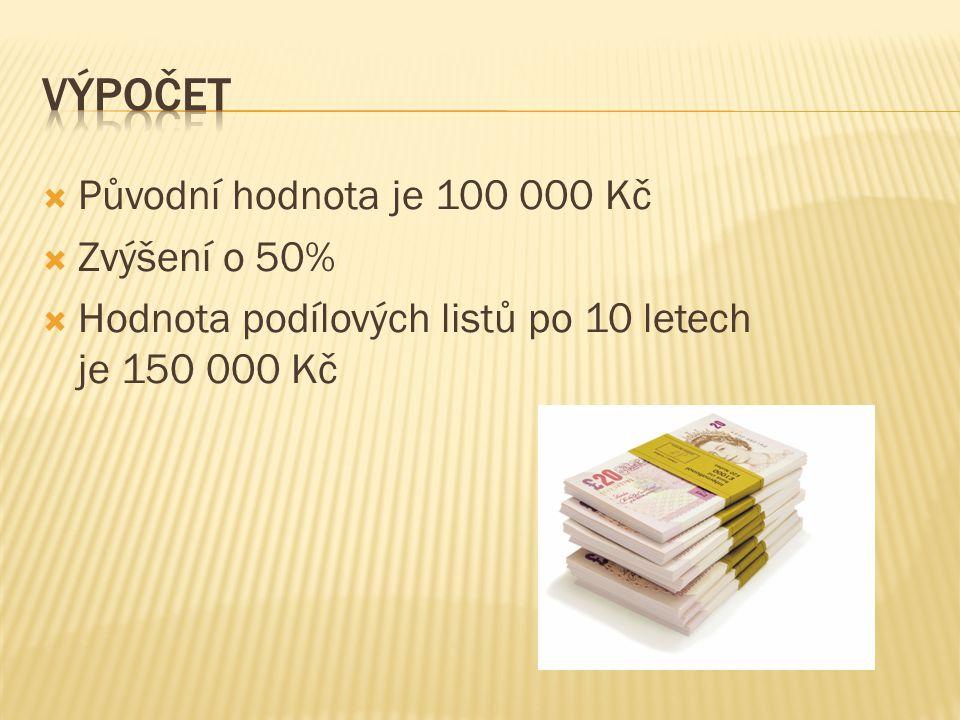  Původní hodnota je 100 000 Kč  Zvýšení o 50%  Hodnota podílových listů po 10 letech je 150 000 Kč