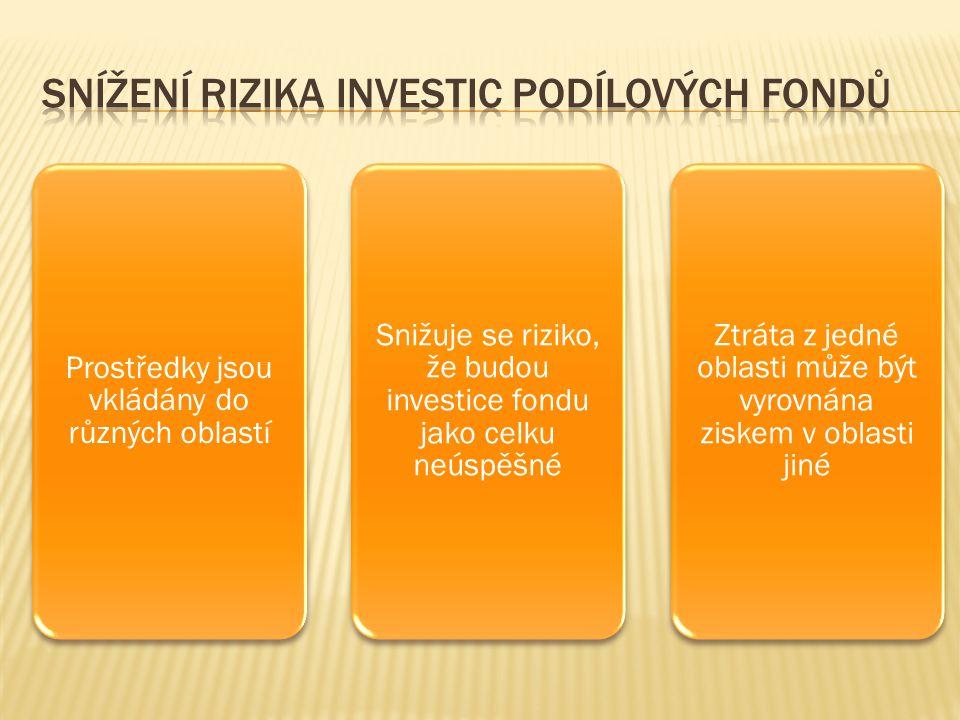 Prostředky jsou vkládány do různých oblastí Snižuje se riziko, že budou investice fondu jako celku neúspěšné Ztráta z jedné oblasti může být vyrovnána