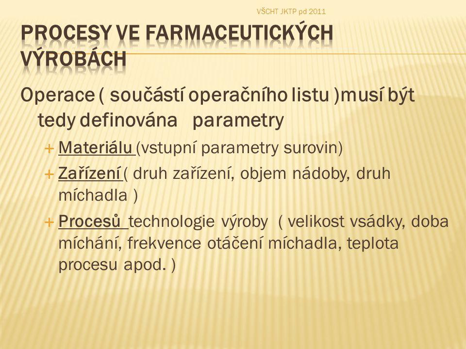 Operace ( součástí operačního listu )musí být tedy definována parametry  Materiálu (vstupní parametry surovin)  Zařízení ( druh zařízení, objem nádo