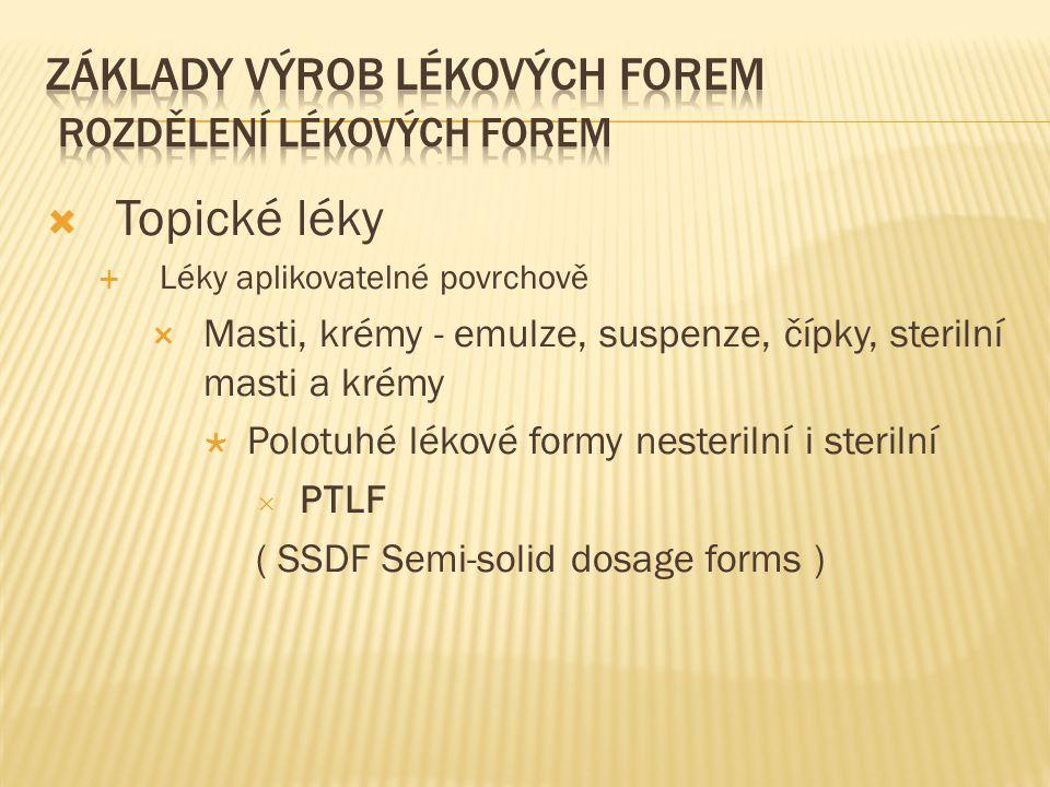  Topické léky  Léky aplikovatelné povrchově  Masti, krémy - emulze, suspenze, čípky, sterilní masti a krémy  Polotuhé lékové formy nesterilní i sterilní  PTLF ( SSDF Semi-solid dosage forms )