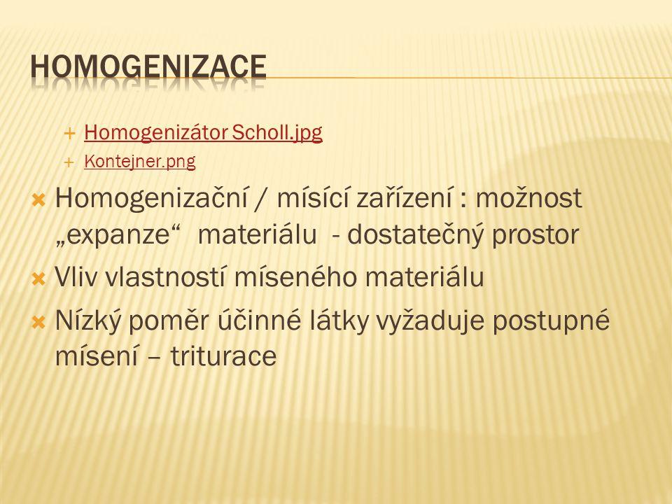 """ Homogenizátor Scholl.jpg Homogenizátor Scholl.jpg  Kontejner.png Kontejner.png  Homogenizační / mísící zařízení : možnost """"expanze materiálu - dostatečný prostor  Vliv vlastností míseného materiálu  Nízký poměr účinné látky vyžaduje postupné mísení – triturace"""