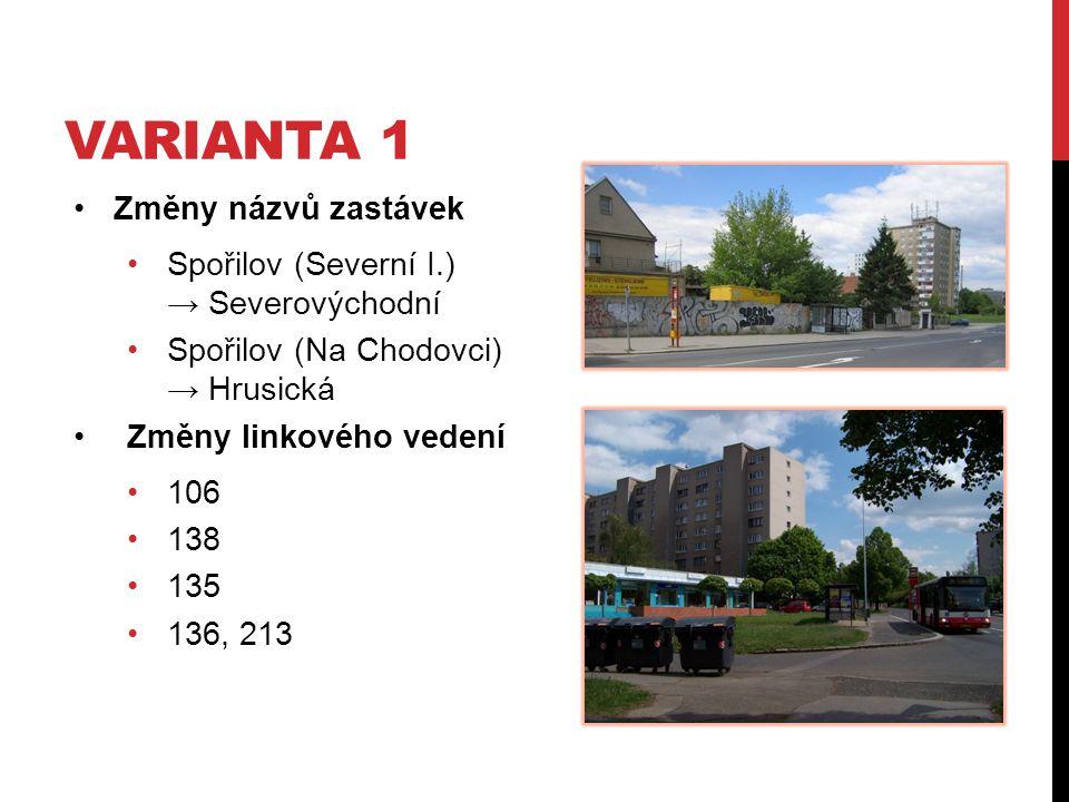 VARIANTA 1 Změny názvů zastávek Spořilov (Severní I.) → Severovýchodní Spořilov (Na Chodovci) → Hrusická Změny linkového vedení 106 138 135 136, 213