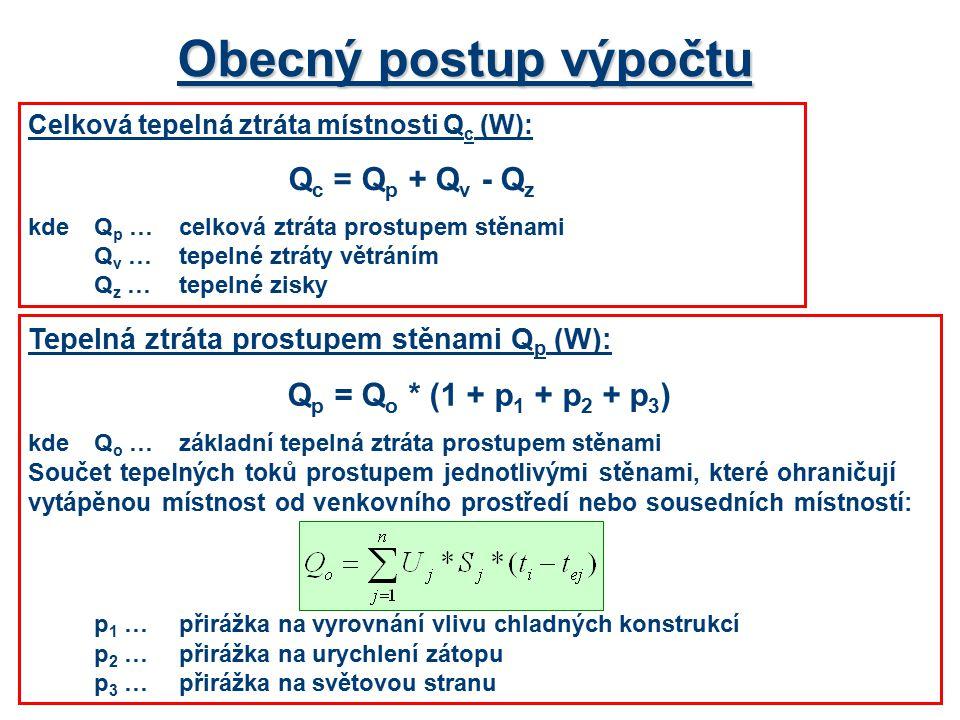 Obecný postup výpočtu Celková tepelná ztráta místnosti Q c (W): Q c = Q p + Q v - Q z kdeQ p …celková ztráta prostupem stěnami Q v …tepelné ztráty větráním Q z …tepelné zisky Tepelná ztráta prostupem stěnami Q p (W): Q p = Q o * (1 + p 1 + p 2 + p 3 ) kdeQ o …základní tepelná ztráta prostupem stěnami Součet tepelných toků prostupem jednotlivými stěnami, které ohraničují vytápěnou místnost od venkovního prostředí nebo sousedních místností: p 1 …přirážka na vyrovnání vlivu chladných konstrukcí p 2 …přirážka na urychlení zátopu p 3 …přirážka na světovou stranu