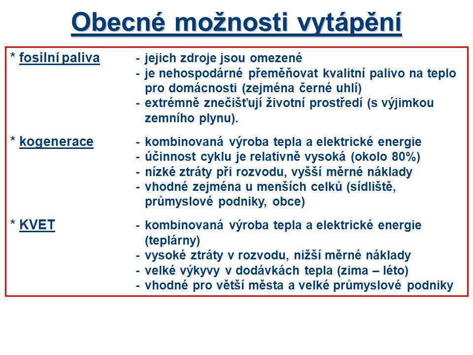*elektrická energie -v místě spotřeby bez zplodin, čisté, rychlá regulace možnosti-akumulační vytápění (8 nebo 16 hodin) -přímotopné vytápění (20 hodin) -kombinace obou způsobů *využití obnovitelných zdrojů - tepelné čerpadlo-využití energie vzduchu, vody, země -vyšší investiční náklady, optimální doba návratnosti do 10 let -vhodná je kombinace vytápění a příprava TUV -možnost získání výhodné sazby (tepelné čerpadlo) -podmínkou je kvalitní tepelná izolace objektu -efektivní je kombinace s dalšími zdroji tepla - solární kolektory-omezené využití v zimních měsících, kdy je tepelná energie potřebná nejvíce -nutná kombinace s dalšími zdroji tepla -v letních měsících příprava TUV, bazény - biomasa-musí být speciální režim spalování (nelze použít klasický kotel) -úprava paliva – piliny, pelety, brikety, …