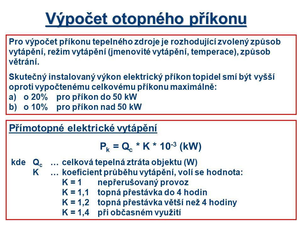 Výpočet otopného příkonu Pro výpočet příkonu tepelného zdroje je rozhodující zvolený způsob vytápění, režim vytápění (jmenovité vytápění, temperace), způsob větrání.