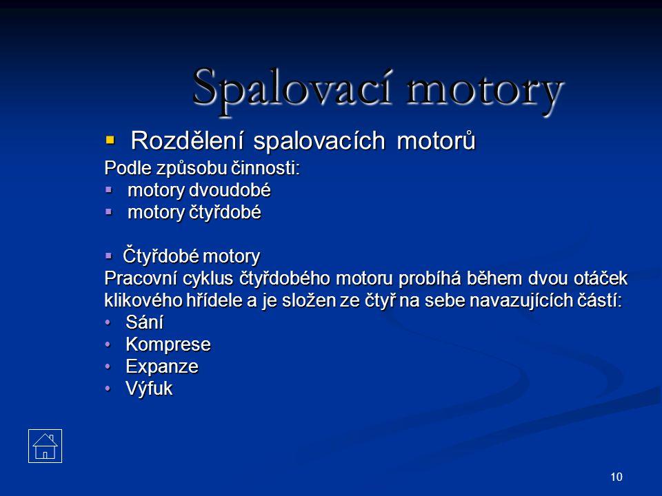 10 Spalovací motory  Rozdělení spalovacích motorů Podle způsobu činnosti:  motory dvoudobé  motory čtyřdobé  Čtyřdobé motory Pracovní cyklus čtyřd