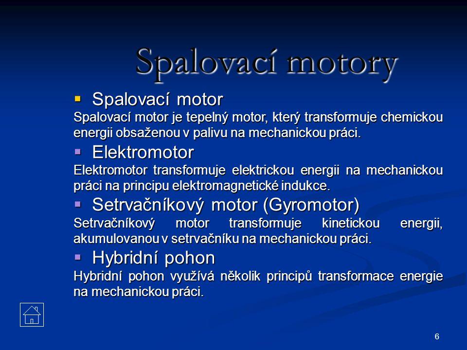 6 Spalovací motory  Spalovací motor Spalovací motor je tepelný motor, který transformuje chemickou energii obsaženou v palivu na mechanickou práci. 