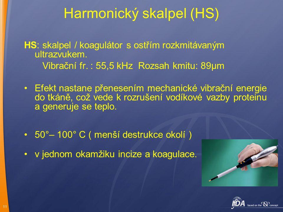 11 Harmonický skalpel (HS) HS: skalpel / koagulátor s ostřím rozkmitávaným ultrazvukem. Vibrační fr. : 55,5 kHz Rozsah kmitu: 89μm Efekt nastane přene