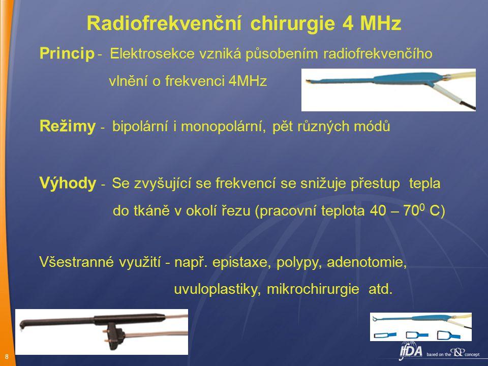 8 Radiofrekvenční chirurgie 4 MHz Princip - Elektrosekce vzniká působením radiofrekvenčího vlnění o frekvenci 4MHz Režimy - bipolární i monopolární, p