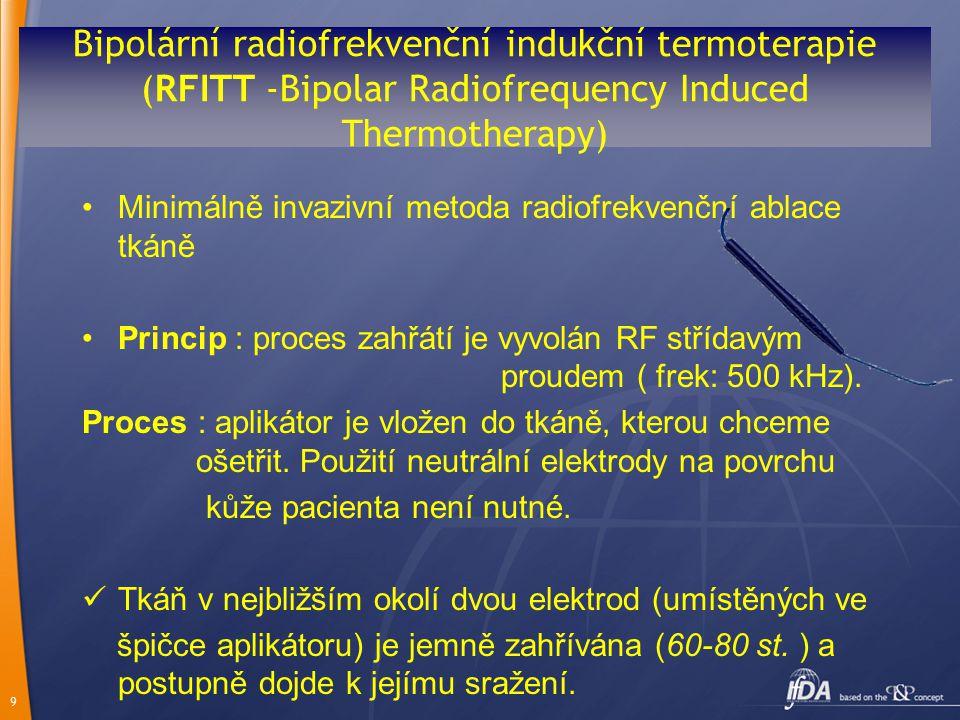 9 Bipolární radiofrekvenční indukční termoterapie (RFITT -Bipolar Radiofrequency Induced Thermotherapy) Minimálně invazivní metoda radiofrekvenční abl